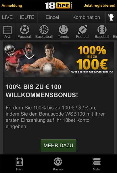 18bet app bonus