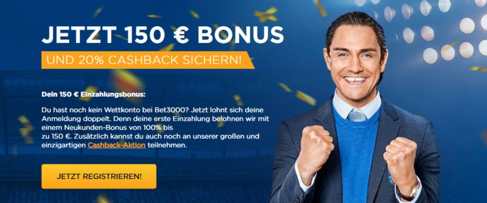 Bet3000 Bonus anmelden