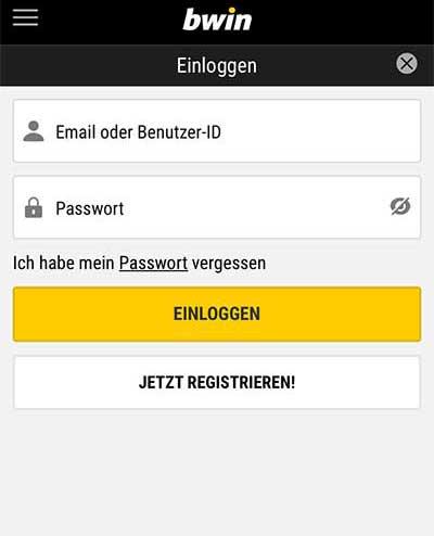 bwin app registrierung
