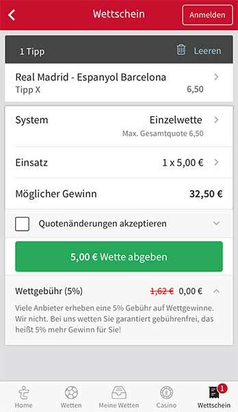 tipico app wettschein